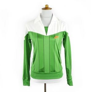 Nike green & white long sleeve athletic top, S